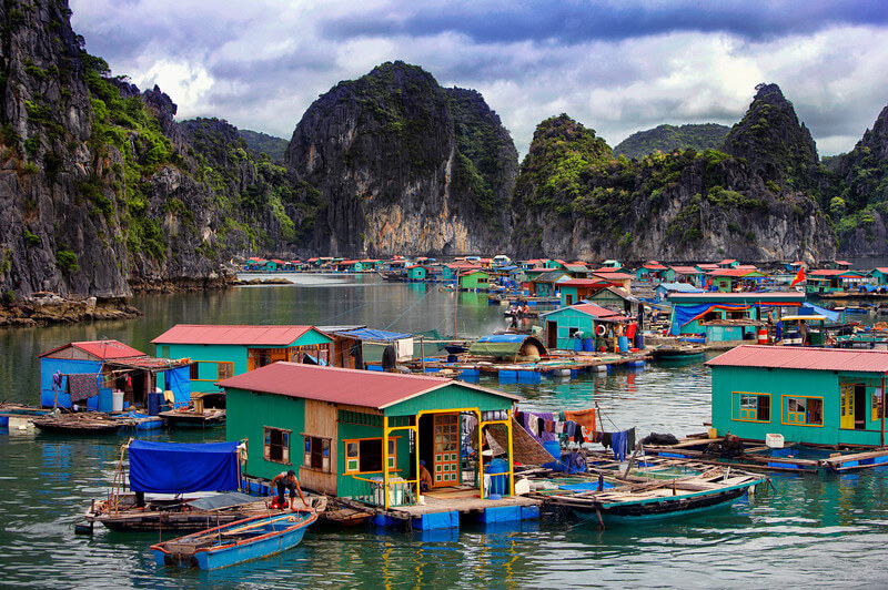 view of colourful houses in floating village halong bay