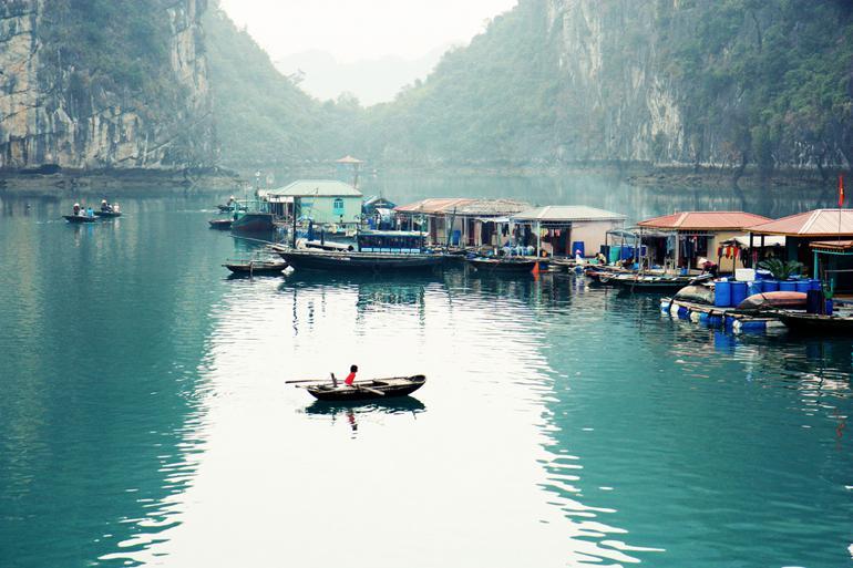 Image result for floating villages on Halong Bay