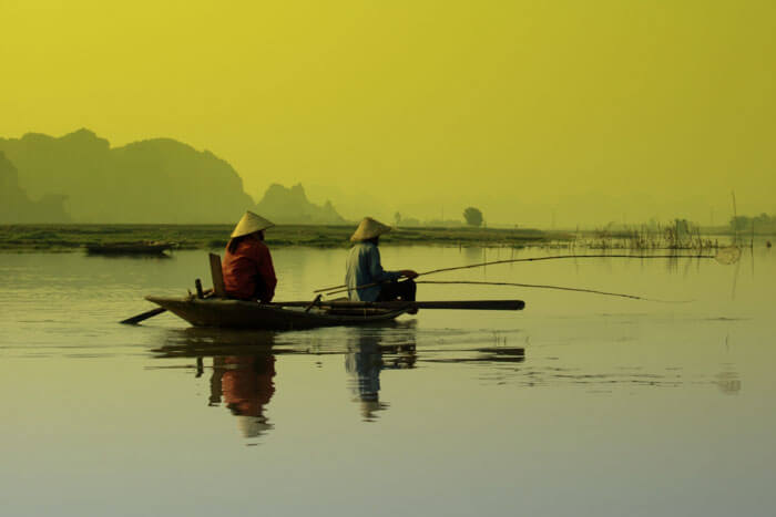 The traditional life on the boats in Mekong Delta