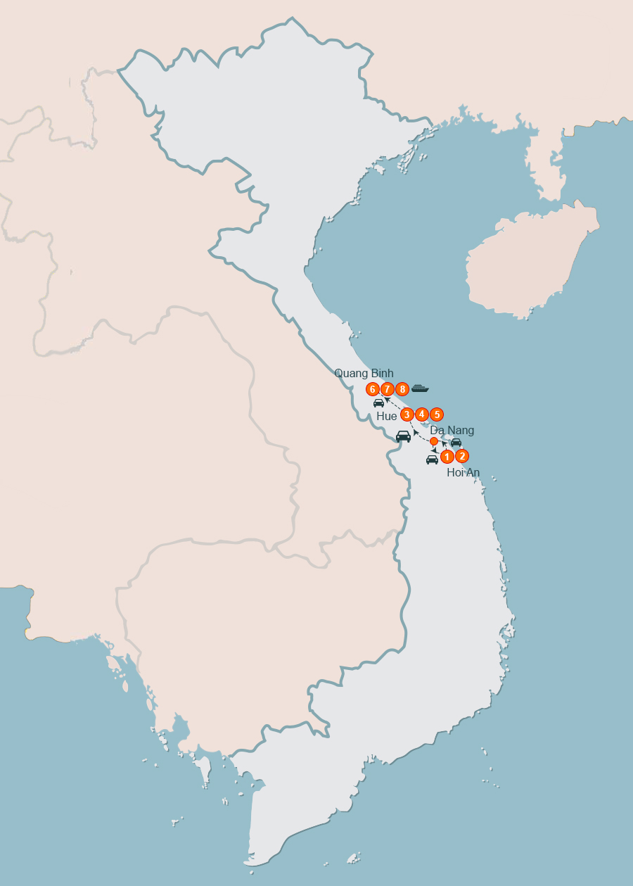 Discovery World Heritage of Vietnam 8 Days. Tour from Hoi An to Hue