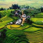 The terraces in Sapa are beautiful through the fly camera
