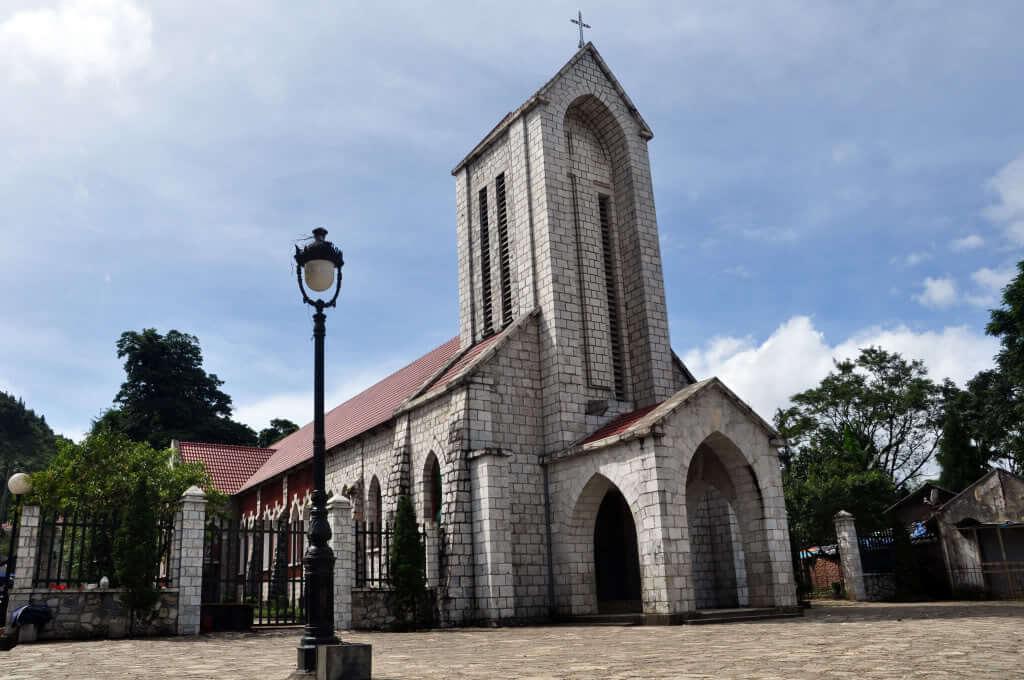The unique architecture of Sapa stone church attracts tourists